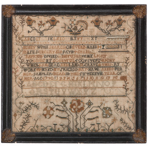 1790 Sampler with Fine Floral Decoration and Hymn