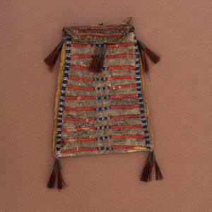Northern Plains Beaded and Quilled Buffalo Hide Bag