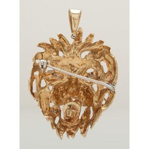 14 Karat Yellow Gold Lions Head Brooch/Pendant