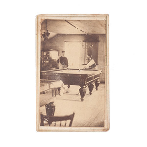 Extraordinary Carte de Visite Photograph of the Interior of an Old West San Francisco Billiards Parlor