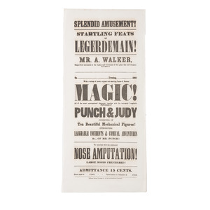 "1855 Dated Promotional Broadside Featuring a ""Punch & Judy"" Performance and Promising Comical ""Nose Amputations!"""