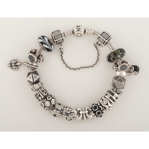 Pandora Sterling Silver Charm Bracelet with Charms