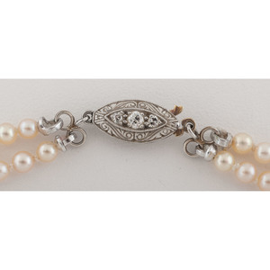 GIA Certified Double Strand Natural Pearl Necklace