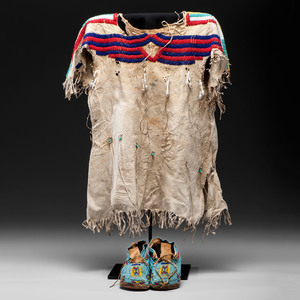 Plains Child's Beaded Hide Dress and Moccasins