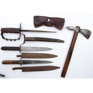 Lot of (3) WWI Trench Knives & (1) Hatchet