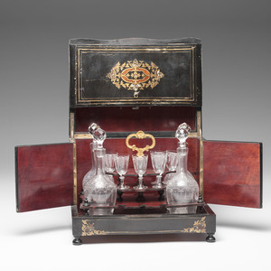 Napoleon III Boulle Tantalus with Etched Glass Decanters and Glasses