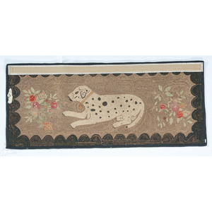 Hooked Rug with Reclining Dog