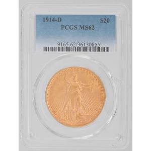 United States Saint-Gaudens Double Eagle 1914-D PCGS MS62