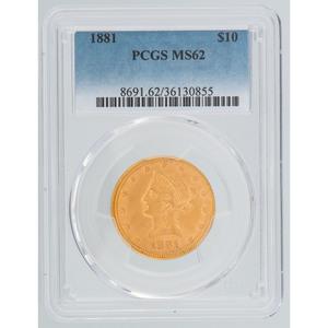 United States Liberty Head Gold Eagle 1881 PCGS MS62