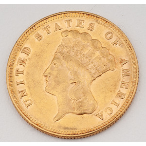 United States Indian Princess Head Three-Dollar Gold Piece 1874