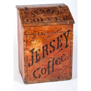 Jersey Coffee Painted Wood Bin