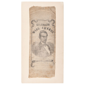 Abraham Lincoln Kalamazoo Wide Awakes 1860 Campaign Ribbon