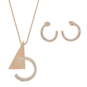 14 Karat Gold Diamond Necklace and Earrings