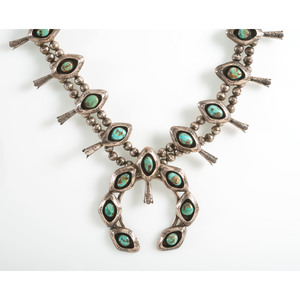 Navajo Silver and Turquoise Shadowbox Squash Blossom Necklace