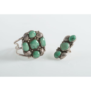 Navajo Silver and Turquoise Cuff Bracelet AND Ring