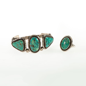 Esther Wood (Dine, b. 1946) Navajo Silver and Turquoise Cuff Bracelet and Ring