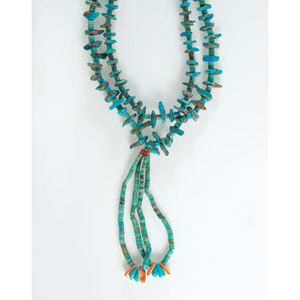 Pueblo Style Turquoise Necklace with Joclas
