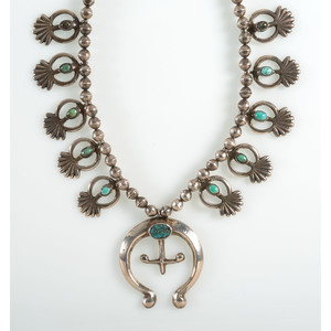 Navajo Sand Casted Silver and Turquoise Squash Blossom Necklace