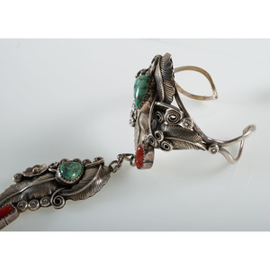 P. Attakai (Dine, 20th century) Navajo Silver, Turquoise, and Coral Cuff Bracelet AND Ring