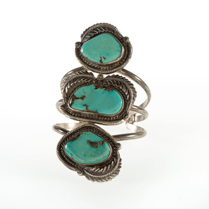Large Navajo Silver and Turquoise Cuff Bracelet