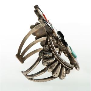 Andrew Dewa (Zuni, d. 2001) Channel Inlay Katsina Figure Cuff Bracelet