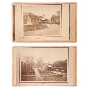 Rare Pair of Period Copy CDVs Featuring Lincoln's Funeral Procession in Monument Square Pavilion, Cleveland, OH