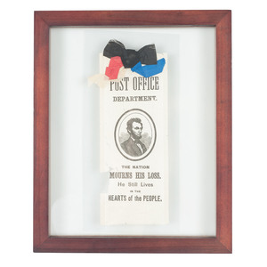Abraham Lincoln The Nation Mourns His Loss Post Office Department Mourning Ribbon