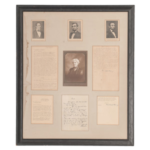 Grace Bedell Billings, 1923 Signed Photograph and two TLsS, Framed with Lincoln Prints Documenting Various Stages of Beard Growth