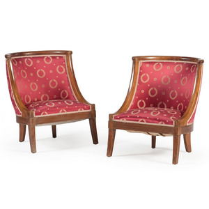 Louis Philippe Upholstered Gondola Chairs