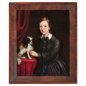 American School, 19th Century Portrait of a Child with King Charles Spaniel