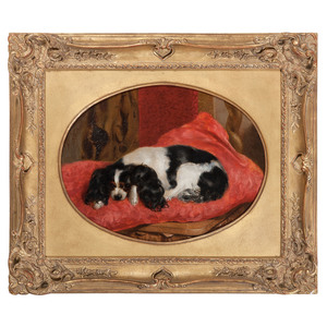 English School, Portrait of a Recumbent Tri-Color Cavalier King Charles Spaniel