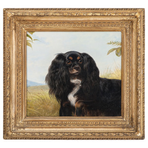 English Portrait of a Spaniel in a Landscape by Richard Ansdell