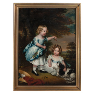 English School, Portrait of Young Girls Playing with their King Charles Spaniel