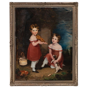 English School, Portrait of Two Children with Violin and Puppies