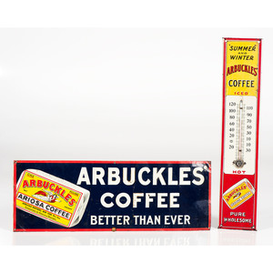 Arbuckles Tin Sign and Advertising Thermometer
