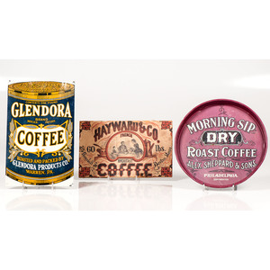 Glendora Tin Sign, Morning Sip Dry Roast Coffee Tin Tray, and Hayward & Co. Lithographed Sign