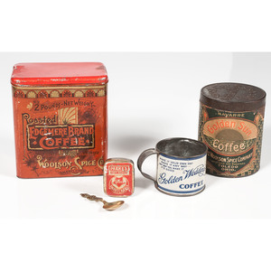 Tin Coffee Advertising Items, Including Woolson Spice Co.