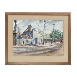 A. Russo Watercolor, Street in Verville-Sur-Mer, Created In-Theater Just Three Days After D-Day on June 9, 1944