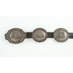 Darrell Brown (Choctaw, 20th century) Stamped Sterling Silver Concha Belt