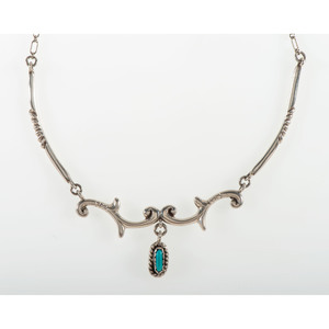 Joe H. Quintana (Cochiti, 1915-1991) Silver and Turquoise Necklace