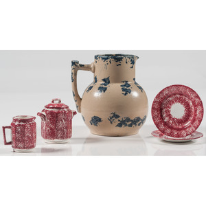 Spatterware Pitcher, Creamer, Sugar and Saucers