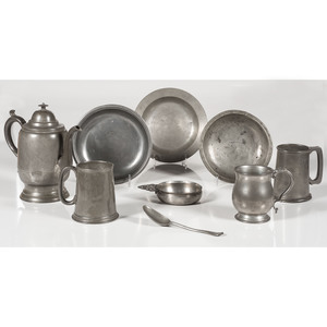 Pewter Coffee Pot, Mugs, and Plates