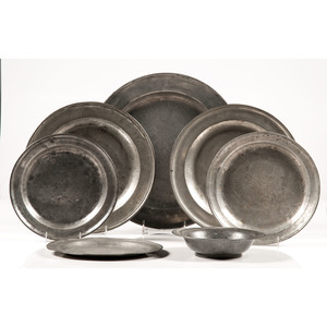 Pewter Chargers and Bowl