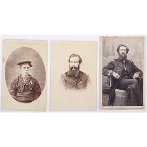 Three Civil War Naval CDVs