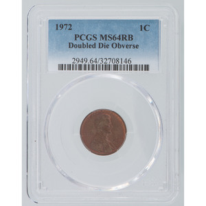 United States Lincoln Cent 1972, PCGS MS64 RB Doubled Die Obverse