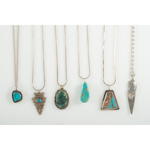 Assorted Silver and Turquoise Pendants with Silver Chains