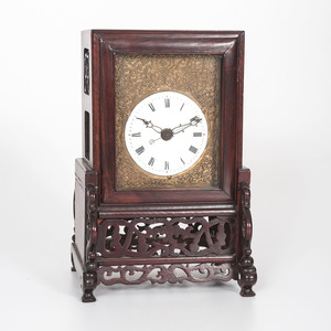 Chinese Brass and Hardwood Table Clock