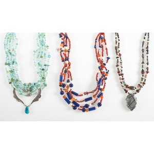 Three Multi-Strand Necklaces