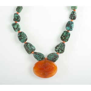 Turquoise and Cornelium Necklace
