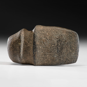A Polished Granite 3/4 Grooved Axe with Raised Ridges, 8 in.